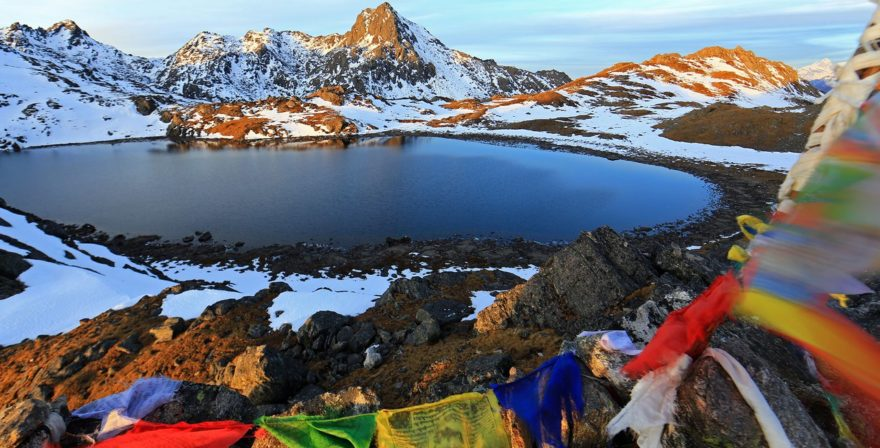 Gosaikunda Lake with Snow - Langtang Region Trek